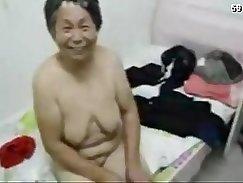 Curly asian milf grandma having steamy sex