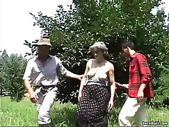 Busty babe granny gets a double fuck
