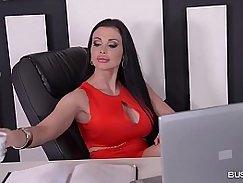 Juicy stepmother video Skyla Nunez shows boss her big tits!