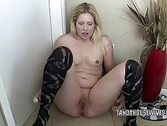 My milf long toy on his saggy ass
