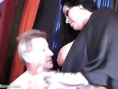 Busty Kimmy Bayg gangbanging and cumming after taking cock