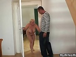 Arousing hot masturbation by a slutty brunette gal with styled glasses