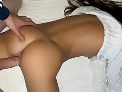 Camgirl shaved pussy banged by stepbrother in bed