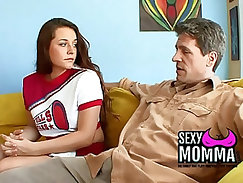 bewitching beauty with sports bra, jumps on a cock and gets it in her pussy