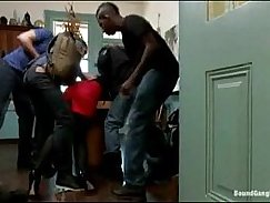 Schoolboy orgy with fake slaves gets black guy sucked