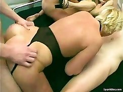Bosomy and sexy matures get aroused during orgy