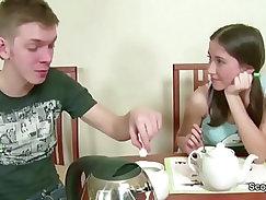 Bro Seduce Petite Step Sister to Fuck Creampie in Her