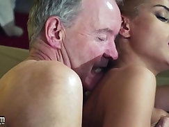 Old Man Dominated by sexy hot babe in old young femdom hardcore anal fucking