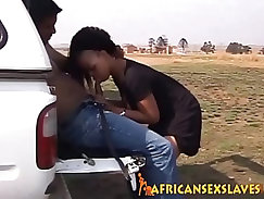Adorable ebony sex slave is taking in a massive dick with tight cunt