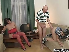 Busty realtor tugs on an oldie pov
