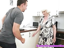 Chubby granny doggystyled by younger cock