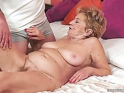 Amazing Busty Teen Granny Flexes Big Cock