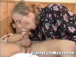 granny blows and fucks lolly hart with a huge dildo