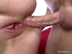 Mature gets her throat and ass banged