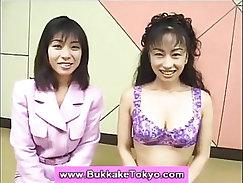 Asian bukkake cuties swapping cum