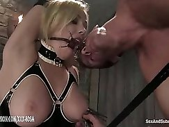 Angelic amazing blonde babe analyzed on sofa by master in BDSM fuck video