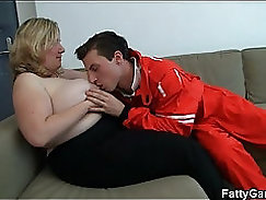 horny old woman spreads legs and adores his fat dick in her mouth