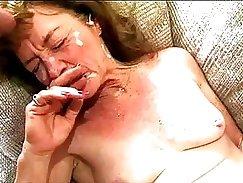Chunky Granny goes for a Big Cock Throat Gangbang