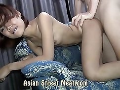 asian gives a handjob with her hands inside which is very