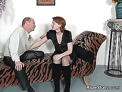 BBW slutty and sucking and fucking with handsome guy in stockings