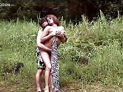 Blindfolded pawnshop fucked by pawn keeper outdoors