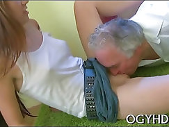 Fascinating young beauty licked by pold guy