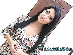 Beautiful latina sucks and takes her tits out