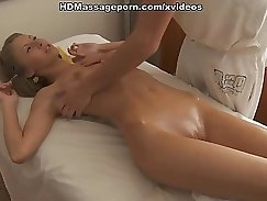 Cute pale sweetie with small tits rides massive pecker giving a sensual massage
