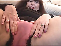 Busty mature fan toying her pussy