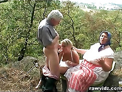Amazing outdoor passionate, threesome porno by HOT + newlywed couple