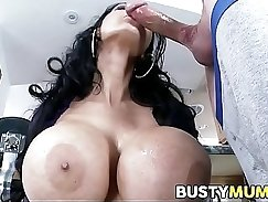Busty bombshell pleases a young stud