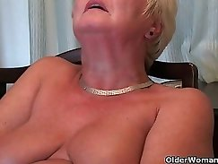 Busty grandma Rammed in and titty fucked in the kitchen